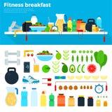 Gesundes und nahrhaftes Frühstück lizenzfreie abbildung