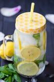 Gesundes Wasser mit Minze, geschnittenen Zitronen und Gurken Diätgetränk Freches Wasser Weckglas voll mit geschnittenen Obst und  Lizenzfreies Stockfoto