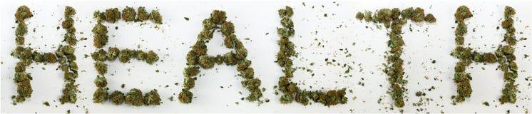 Gesundheit buchstabiert mit Marihuana Stockfotos