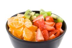 Gesundheit, Kiwi, Tangerine und Erdbeeren mit drei Farben lizenzfreie stockfotografie