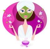 Gesundheit und Badekurort: Mädchengenießen aromatherapy Lizenzfreies Stockbild