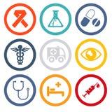Gesundheit und medizinische flache Ikonen Stockfotografie