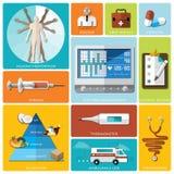Gesundheit und medizinischer flacher Ikonen-Satz Stockfotos