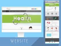 Gesundheit und medizinischer Websiteschablonenplan Stockfoto