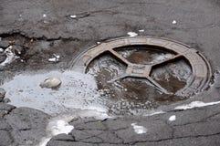 Gesundheitliches Abwasserkanal-Einsteigeloch Stockfotografie