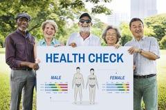 Gesundheits-Check-jährliches Überprüfungs-Körper-Biologie-Konzept stockbilder