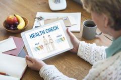 Gesundheits-Check-jährliches Überprüfungs-Körper-Biologie-Konzept lizenzfreie stockfotografie