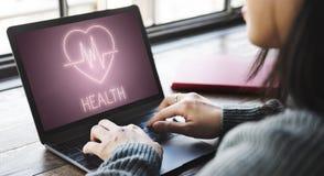 Gesundheits-Herzschlag-Ikonen-Symbol-Konzept Stockfotografie