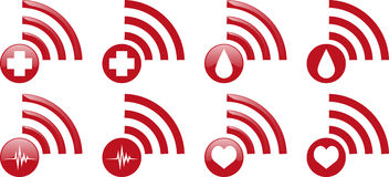 Gesundheits-Internet-Ikonen Lizenzfreies Stockfoto