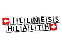 Gesundheits-Knopf der Krankheits-3D klicken hier Block-Text Stockfotos