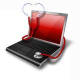 Gesundheits-Laptop, Notizbuchrot Stockfotografie