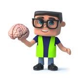 Gesundheits- und Sicherheitsinspektorcharakter der Karikatur 3d hält ein menschliches Gehirn Stockfoto