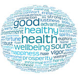 Gesundheits- und Wohlmarke oder Wortwolke Stockbilder