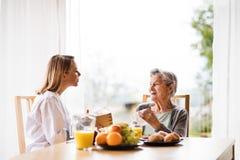 Gesundheitsbesucher und eine ältere Frau während des Hausbesuchs lizenzfreies stockbild