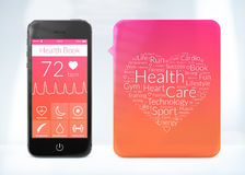 Gesundheitsbuchanwendung für Smartphone mit Wortwolkenaufkleber Stockbilder