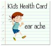 Gesundheitskarte mit kleinem Jungen und Ohrenschmerzen Lizenzfreies Stockbild