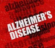 Gesundheitskonzept: Alzheimers-Krankheit auf roter Wand stock abbildung