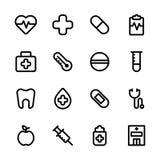 Gesundheitspflege und medizinisches Ikonen-Set Lizenzfreies Stockfoto