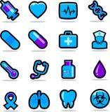 Gesundheitspflegeikonen eingestellt Stockbild