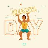 Gesundheitstag Sportlicher Mann im T-Shirt und kurze Hosen, welche die Wortgesundheit halten Stockfotografie