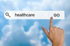 Gesundheitswesen auf Suchsymbolleiste Lizenzfreie Stockfotos