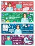 Gesundheitswesen baner für Design der ärztlichen Bemühung lizenzfreie abbildung