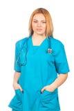 Gesundheitswesen-, Beruf-, Leute- und Medizinkonzept - Arztfrau mit Stethoskop Lokalisiert über Weiß lizenzfreie stockfotos
