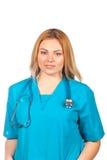 Gesundheitswesen-, Beruf-, Leute- und Medizinkonzept - Arztfrau mit Stethoskop Lokalisiert über Weiß stockfoto
