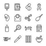 Gesundheitswesen-und Medikations-Ikonen lizenzfreie abbildung