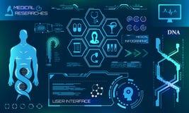 Gesundheitswesen und medizinisches erforscht, HUD Elements Futuristische Diagnoseplatte stock abbildung