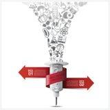 Gesundheitswesen und medizinisches Infographic mit Bindungs-Spiralen-Tag-Baum Roo Lizenzfreie Stockbilder