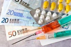 Gesundheitswesenkosten - Eurogeld Lizenzfreie Stockfotografie
