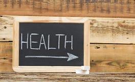 Gesundheitswort auf Tafel Stockbild