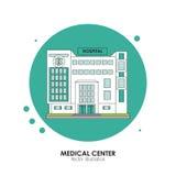 Gesundheitszentrumdesign Krankenhausillustration Weißer Hintergrund Lizenzfreies Stockfoto