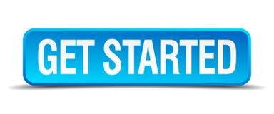 Get начал голубое 3d реалистическая квадратная кнопка Стоковое фото RF