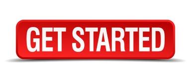 Get начал красную кнопку квадрата 3d Стоковые Изображения
