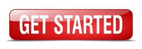 Get начал красную площадь 3d реалистическая изолированная кнопка Стоковое фото RF