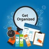 Get组织了组织的时间表企业概念生产力提示 免版税库存照片