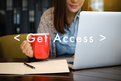 Get Access Social Media Obtainable Available Businessman Interne Royalty Free Stock Photography
