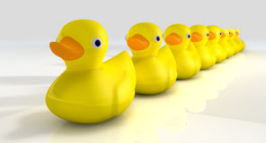 Get All Your Rubber Ducks In A Row. A row of organised and ready yellow rubber ducks vector illustration