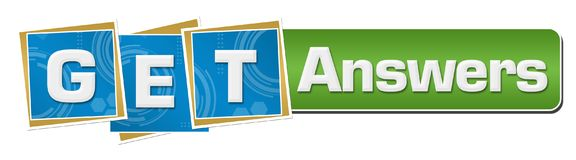 Get Answers Blue Technology Squares Green Bar Stock Image