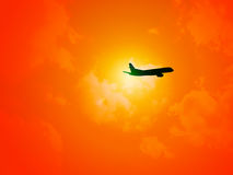 Get Away. Silouhette of a jet airline Royalty Free Stock Photo