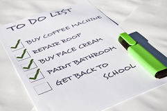 Get back to school. To do list with get back tos chool Royalty Free Stock Photography
