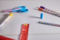 Get Back to School. School Supplies stock photo