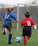 Get That Ball 2. Girl chasing soccer ball down the field Royalty Free Stock Photography
