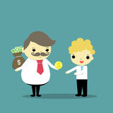 Get big give small. Fat businessman hide sack of money behind his back and give one coin of dollar to thin businessman Royalty Free Stock Photos