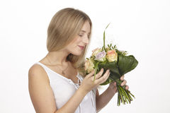 She get a bouquet of flowers (roses) for her birthday Stock Photography