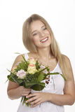 She get a bouquet of flowers (roses) for her birthday Royalty Free Stock Photos