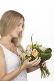 She get a bouquet of flowers (roses) for her birthday Stock Photo