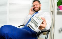 Get cash in few minutes. Banking support line concept. Man successful businessman phone conversation ask service royalty free stock photo